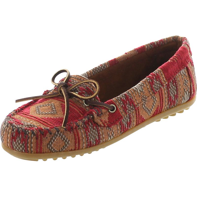 Minnetonka Moccasins 136 - Women's minnetonka baja moccasin in red fabric.  Soft fabric lining with a rawhide lace.