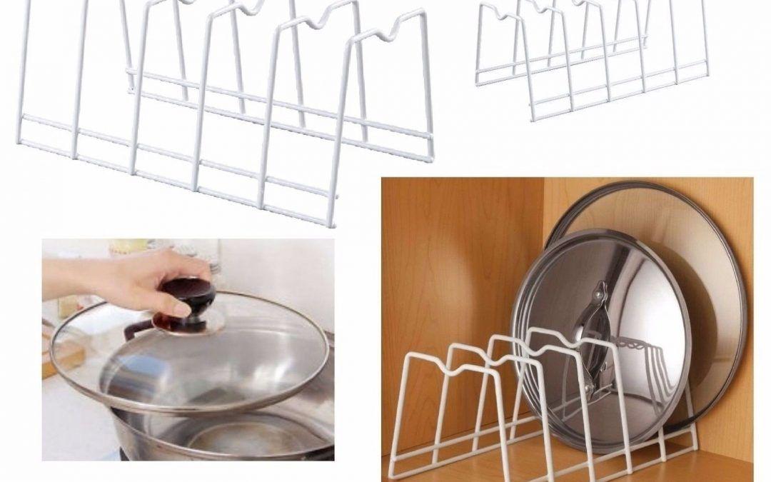 Pot Lid Cabinet Drawer Organizer Pan Steel Rack Holder Kitchen ...