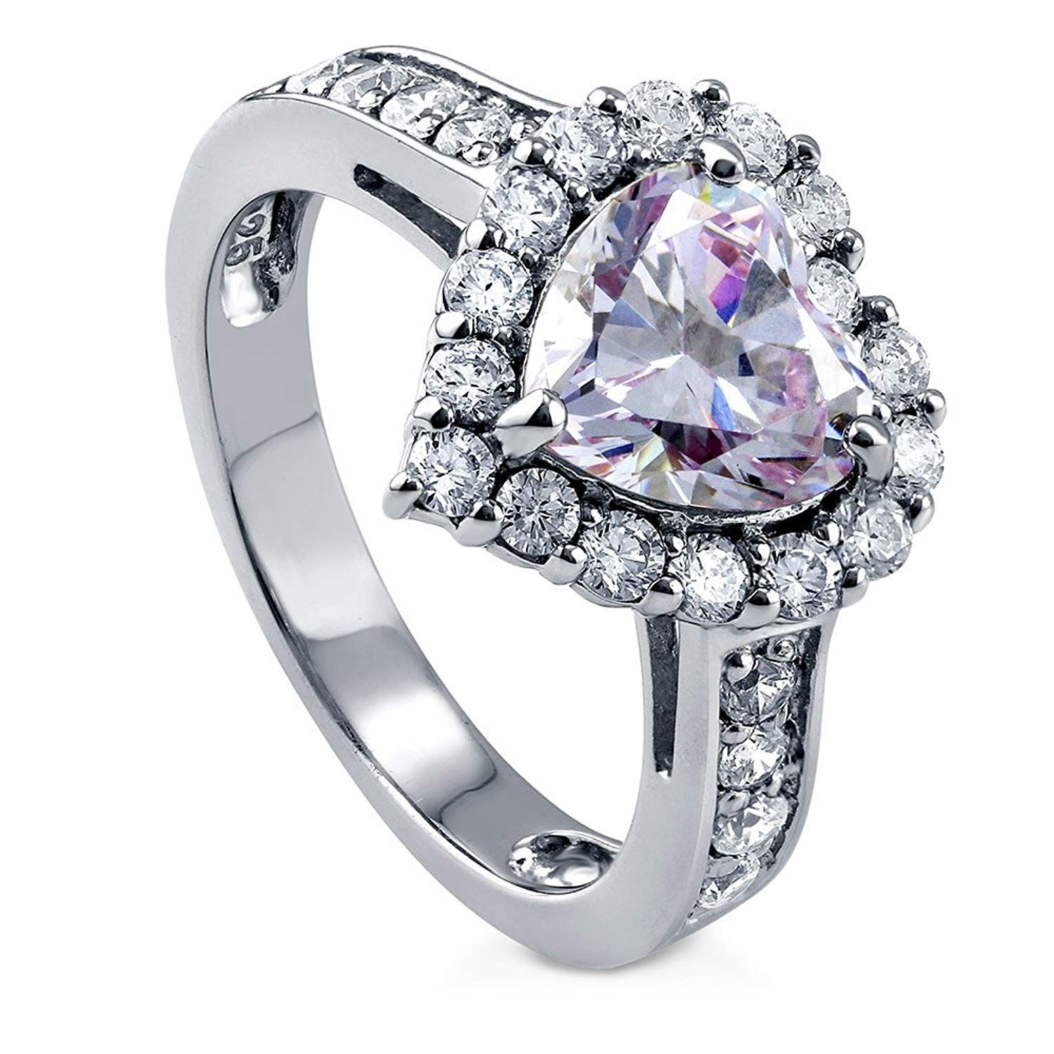 Berricle rhodium plated silver heart shaped purple cubic