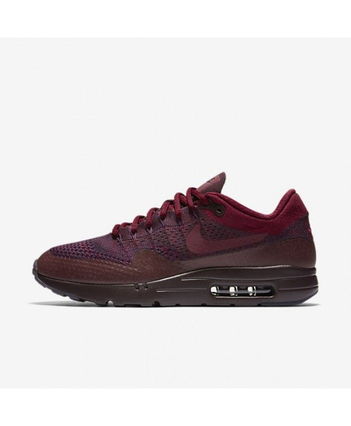 c6d1afa6e908 Nike Air Max 1 Ultra Flyknit Grand Purple Deep Burgundy Team Red Mens Shoe