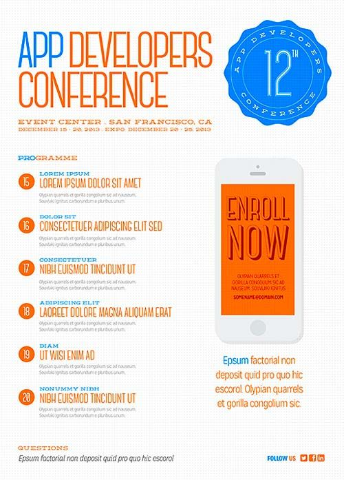 Get Free Digital Conference Flyer PSD Template Flyer Template - conference agenda template