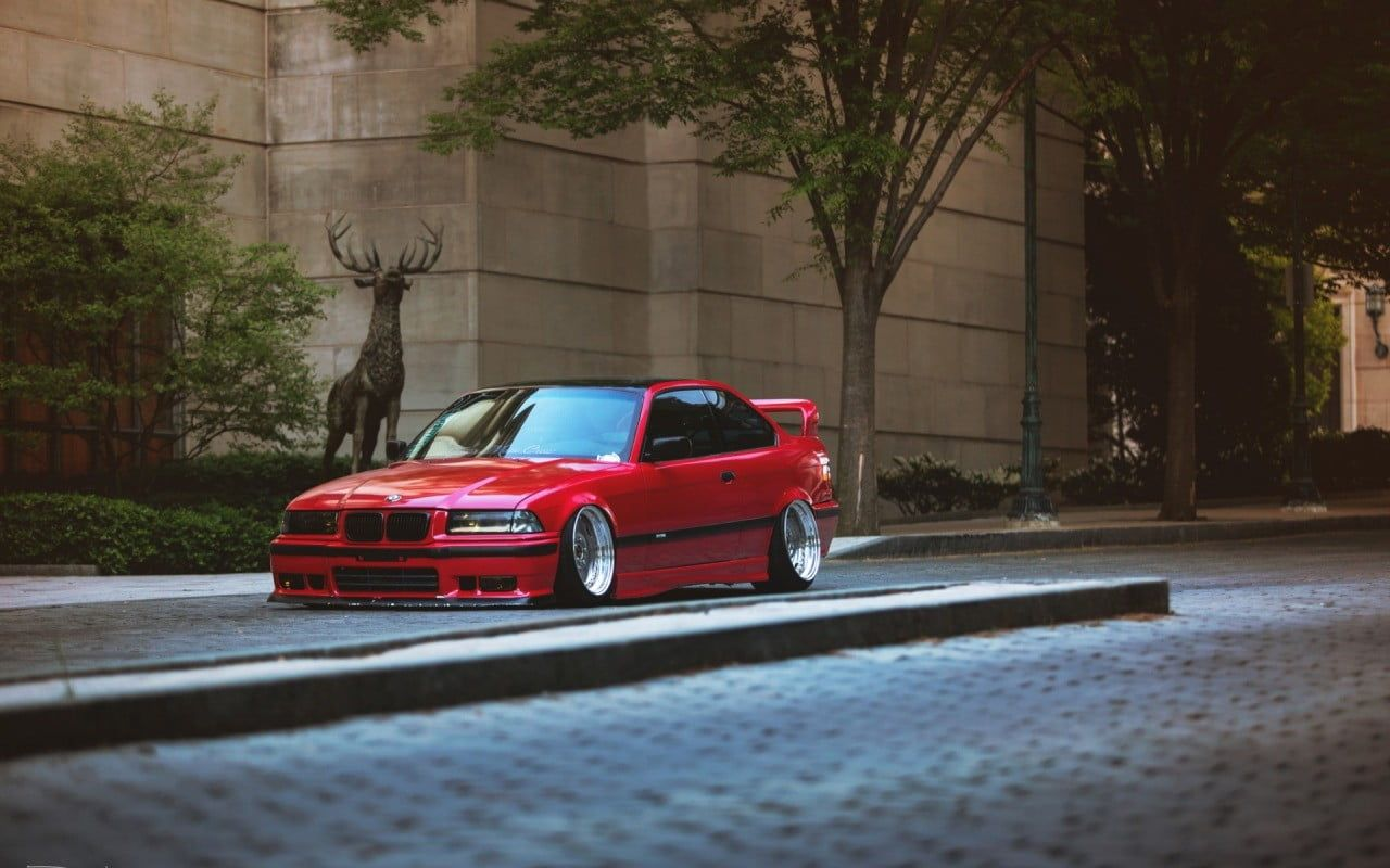 Red Coupe Car Bmw E36 Stance Tuning Lowered German Cars