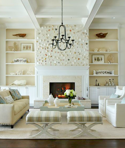 Shell Wall above Fireplace in an Elegant White Coastal Living Room ...