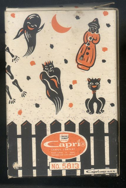 Vintage Halloween Candle Box--Back    A box of candles we bought back in August--kind of cool graphics.