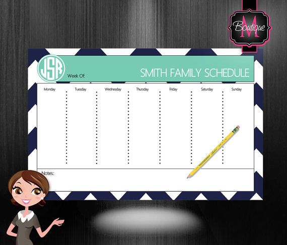 Monogrammed Desk Calendar - Personalized Desk Calendar - Weekly Calendar - Planner - Custom Calendar - Monthly Desk Pad Calendar on Etsy, $33.99