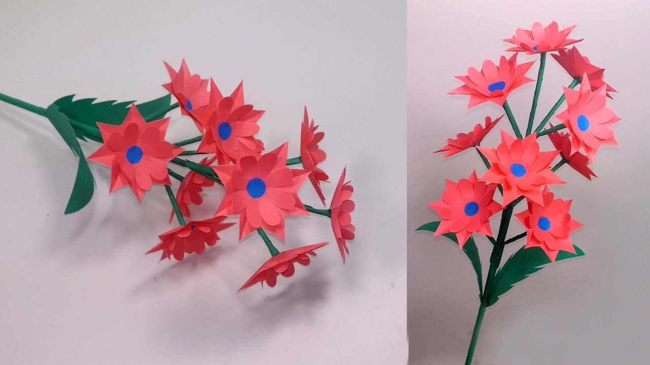 How To Make Very Beautiful Paper Stick Flower Making At Home