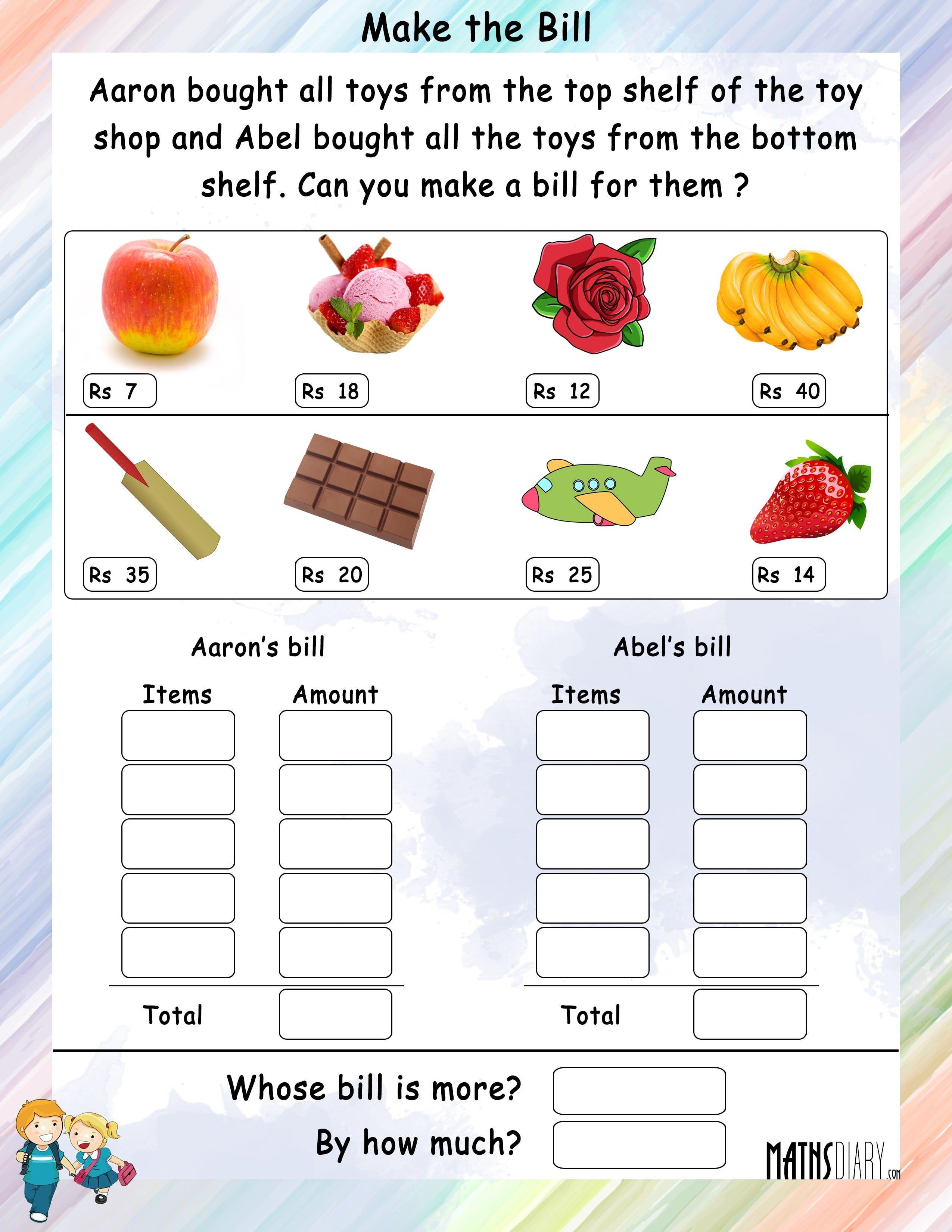 Food Worksheets For Grade 3