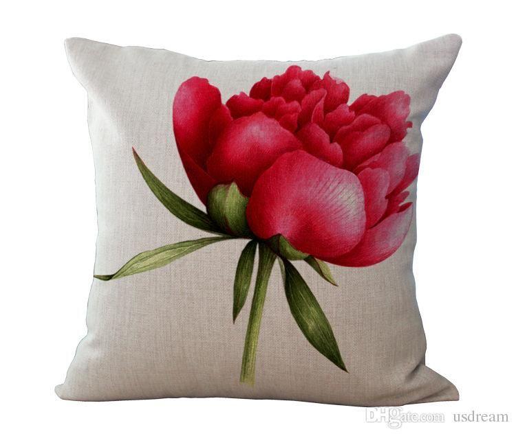White Rose Flower Pillow Case Cushion cover Pillowcase Cover Square linen cotton Pillow Cases Home sofa pillowslip Decor 240483
