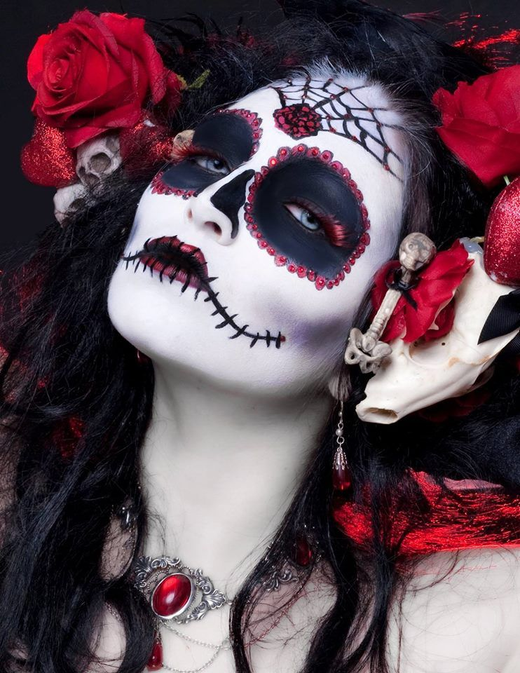 jeweled Day of the Dead makeup. I love the red
