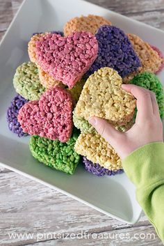 Heart shaped rice krispie treats. Add a lollypop stick to make a heart on a stick! Yum!