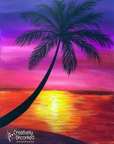 Beach Sunset Painting Step By Step