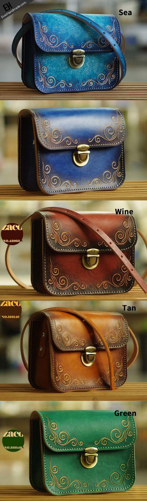 Handmade leather shoulder bag crossbody bag purse vintage