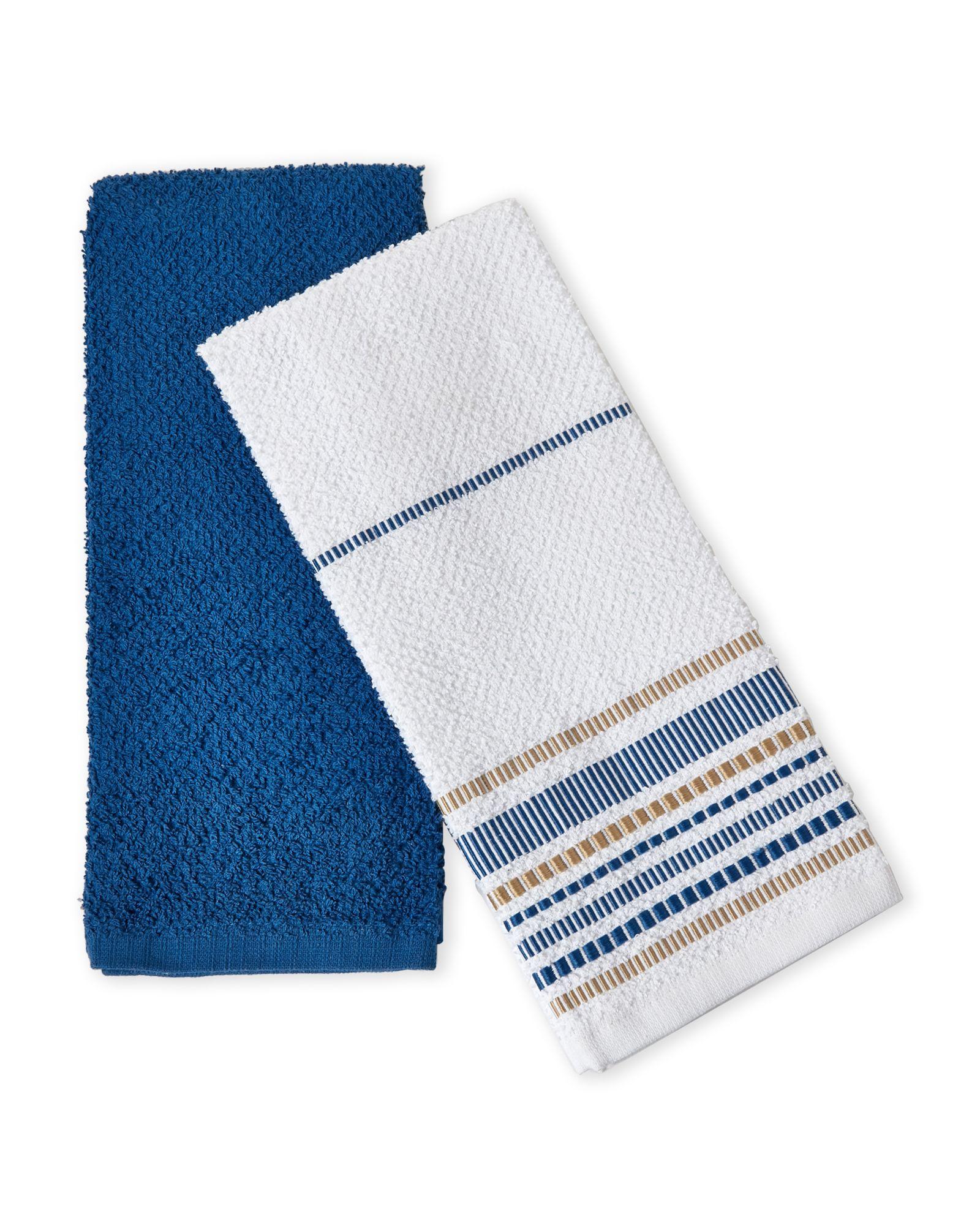 Soho Kitchen 2-Piece Blue/White Embroidered Kitchen Towels
