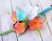 Tropical Bouquet, Beach Wedding Bouquet, Bridesmaid Bouquet, Coral Orange and Turquoise Bouquet, Plumeria Bouquet, Calla Plumeria Bouquet #turquoisecoralweddings
