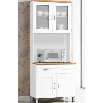 Kitchen Hutch Buffet China Cabinet Storage Cupboard Pantry Drawers  Microwave New