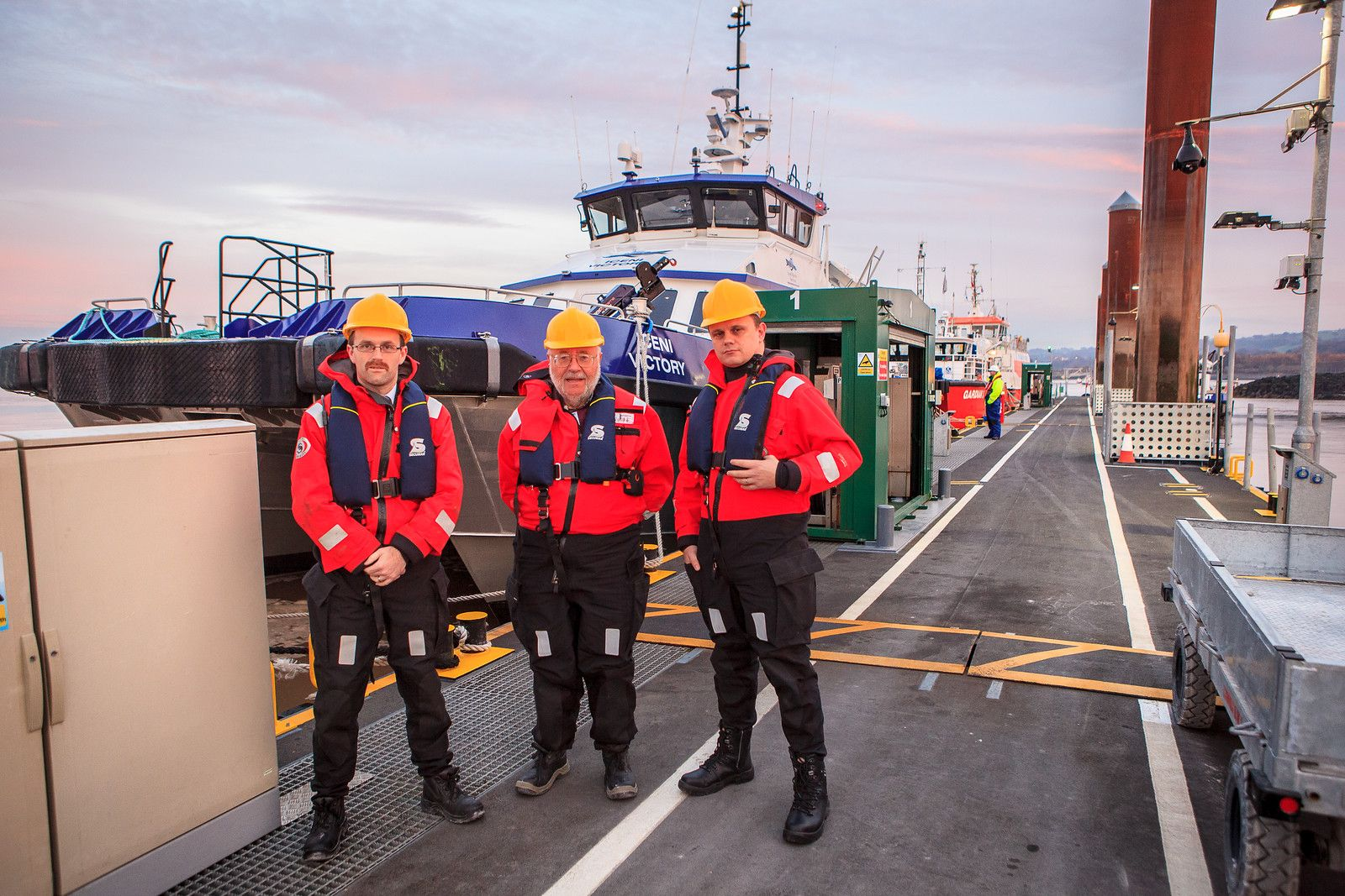 The IOSH team by their transfer vessel. From left, media