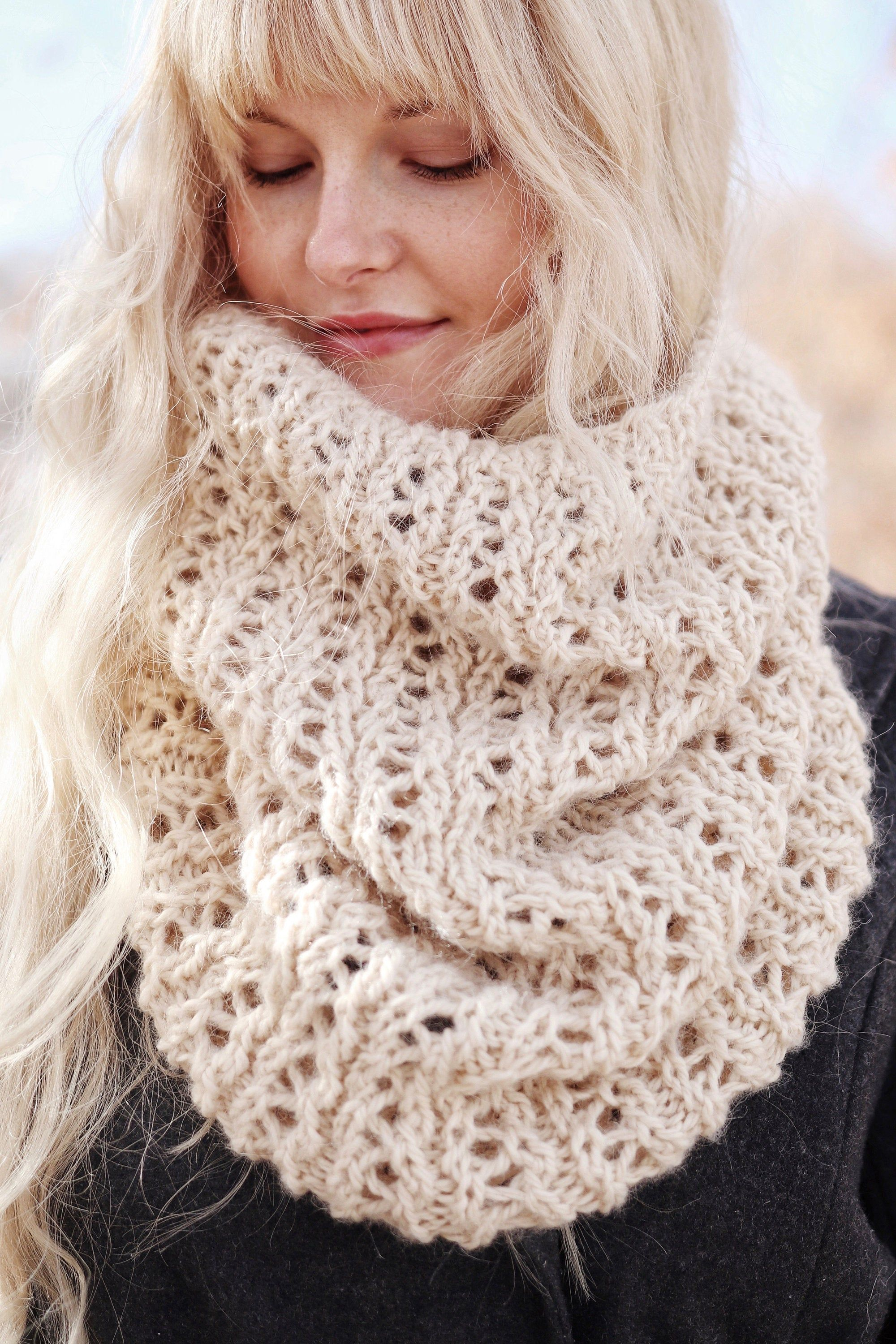 KNITTING PATTERN ⨯ Lace Cowl Scarf Knit Pattern, Beautiful ...