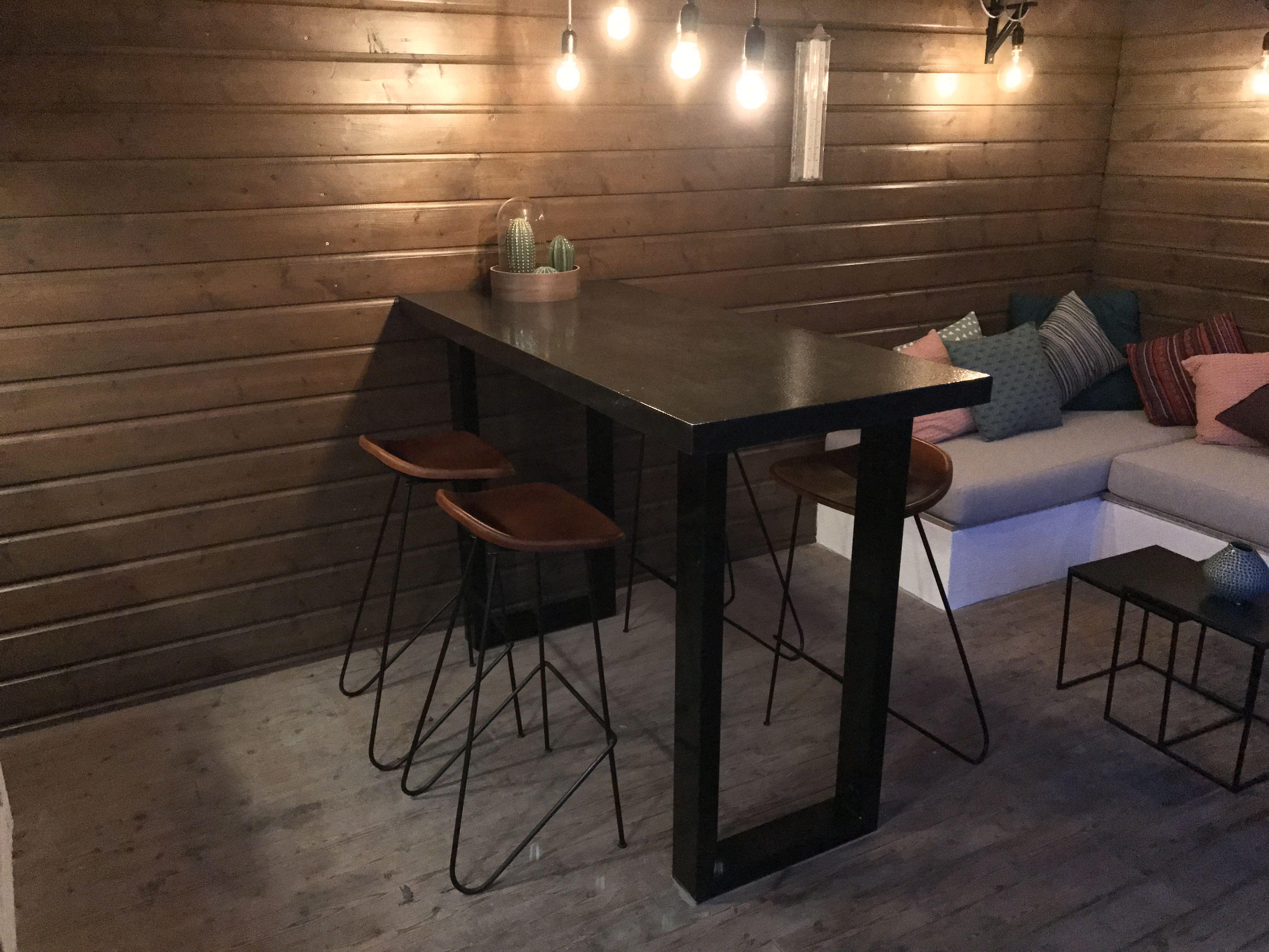Veranda project met buitenkeuken home made betonnenbladen