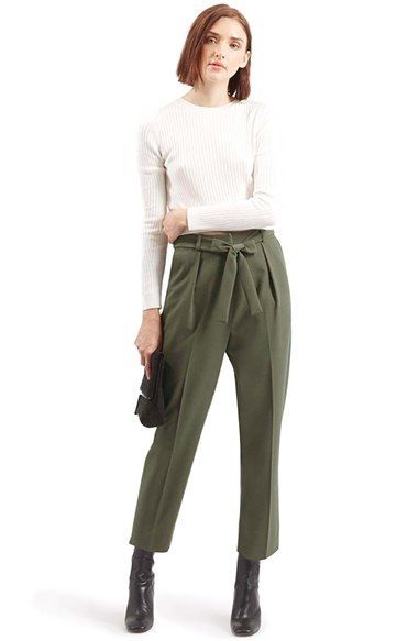 f7204bee2b4 Topshop Crepe Peg Trousers - Olive. Women business casual pants ...