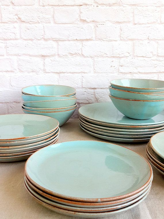 Light Blue Dinnerware Dinnerware Set Stoneware Dinnerware Pottery Dinnerware Place Setting & Pottery Dinnerware Set for 6 Ceramic Dinnerware Set Pottery Plate ...