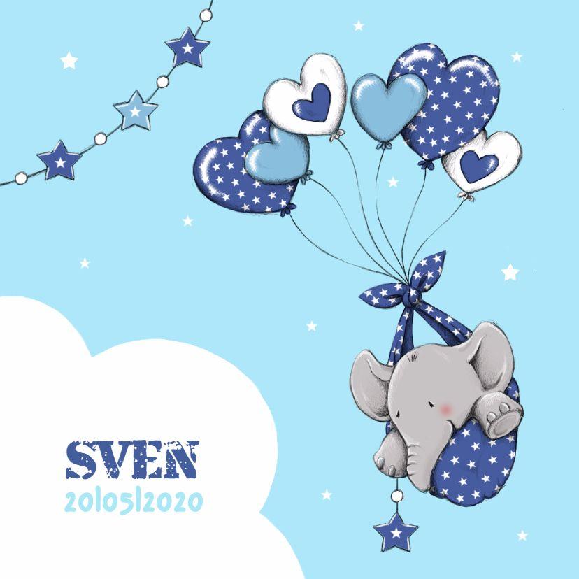 Lief geboortekaartje voor een jongen met olifantje en hart ballonnen, verkrijgbaar bij #kaartje2go voor €1,99