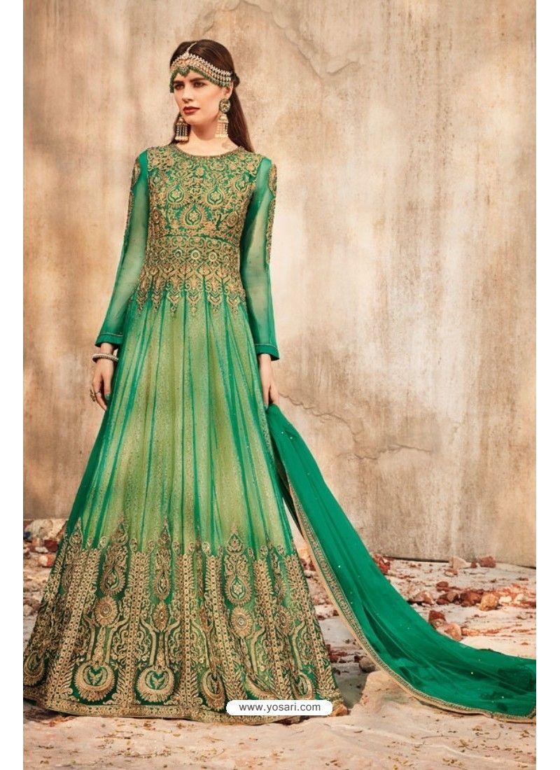32c32ec69d Magnificent Jade Green Net Embroidered Floor Length Suit | Anarkali ...