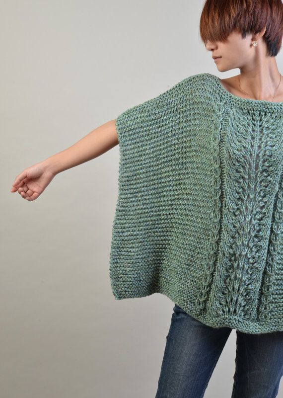 hand knitted Poncho/ capelet in Fall Green - ready to ship | Crochet ...