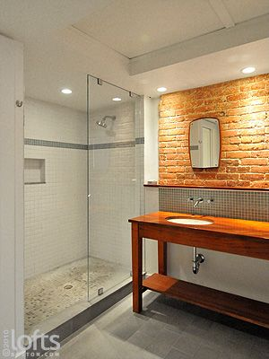 breathtaking brick wall tiles bathroom | Double sink + brick wall + awesome shower = amazing ...