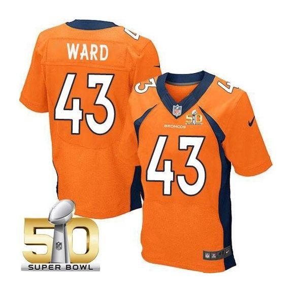 Denver Broncos #43 T.J. Ward Orange 2016 Super Bowl 50 Elite Jersey
