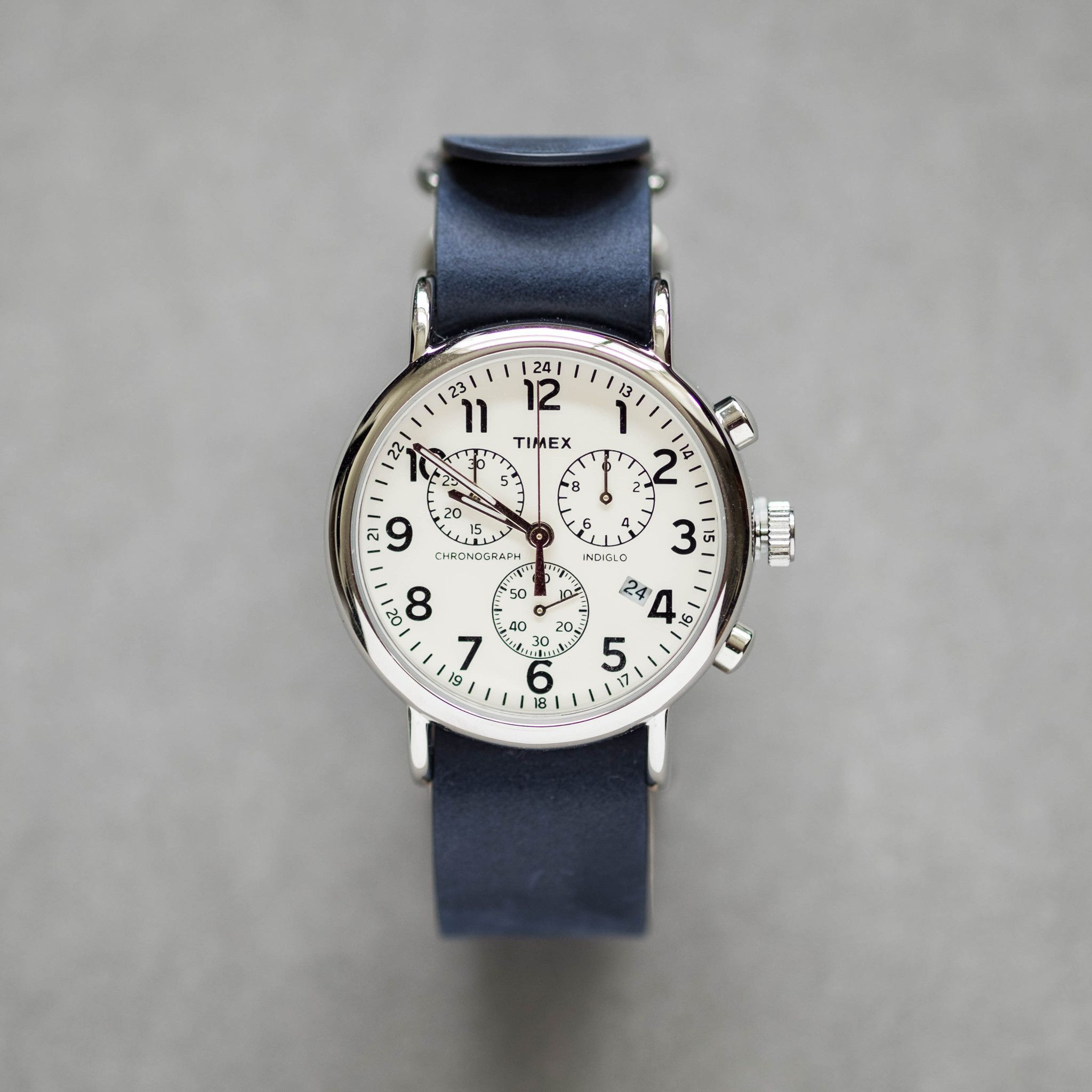 5b8604e87 Timex Weekender Chronograph Watch - Blue Leather Strap | Products ...