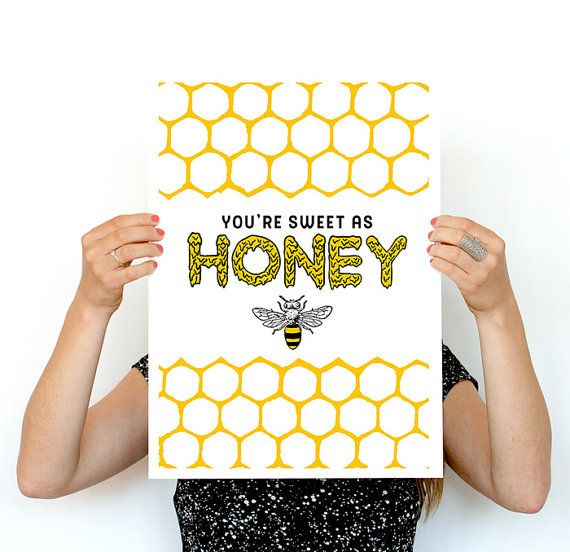You are sweet as Honey Yellow bees art, Eco friendly art, Wall art ...