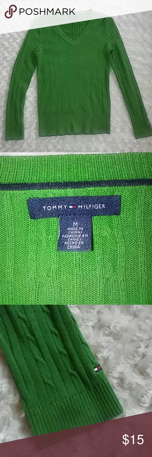 Tommy Hilfiger Cable Knit V Neck Sweater Sz M Chest 15.5in Shoulders 13.5in Sleeve 23in Length 24in Tommy Hilfiger Sweaters V-Necks