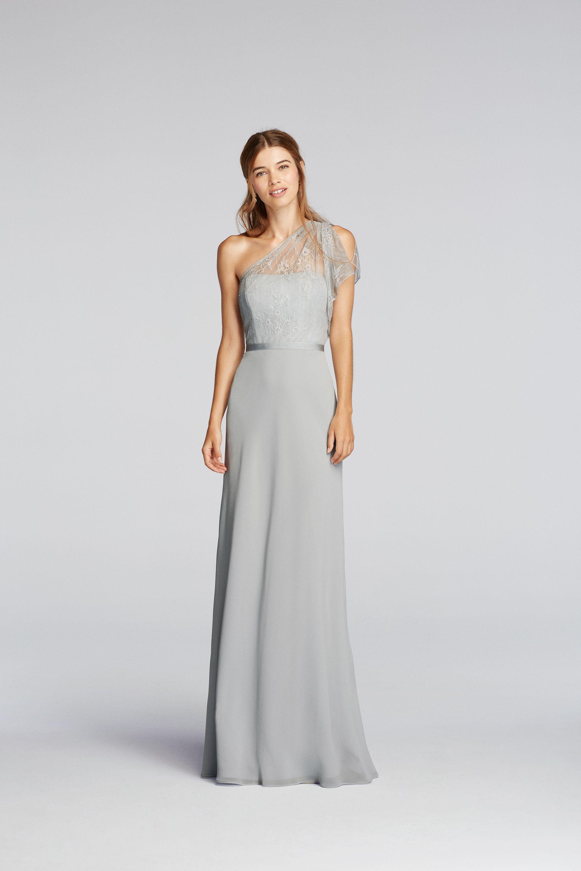PINTEREST PRESALE) One Shoulder Lace Dress with Lace Flutter Sleeve ...