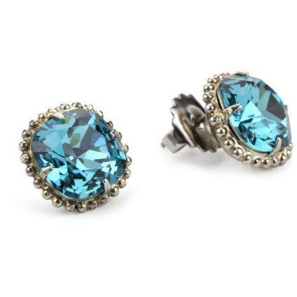 "Sorrelli ""Salt Water"" Cushion Cut Antique Silver-Tone Stud Earrings"
