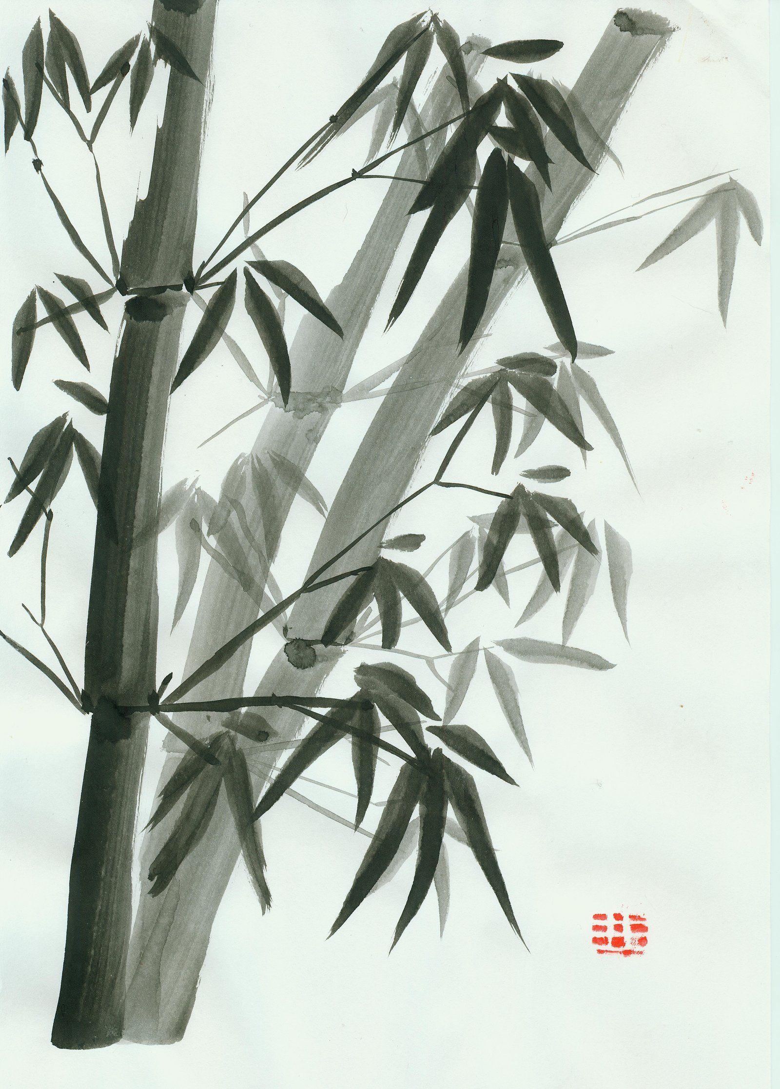 Bambouseraie72 Sumi E Bambou Peinture Chinoise Bambou Et