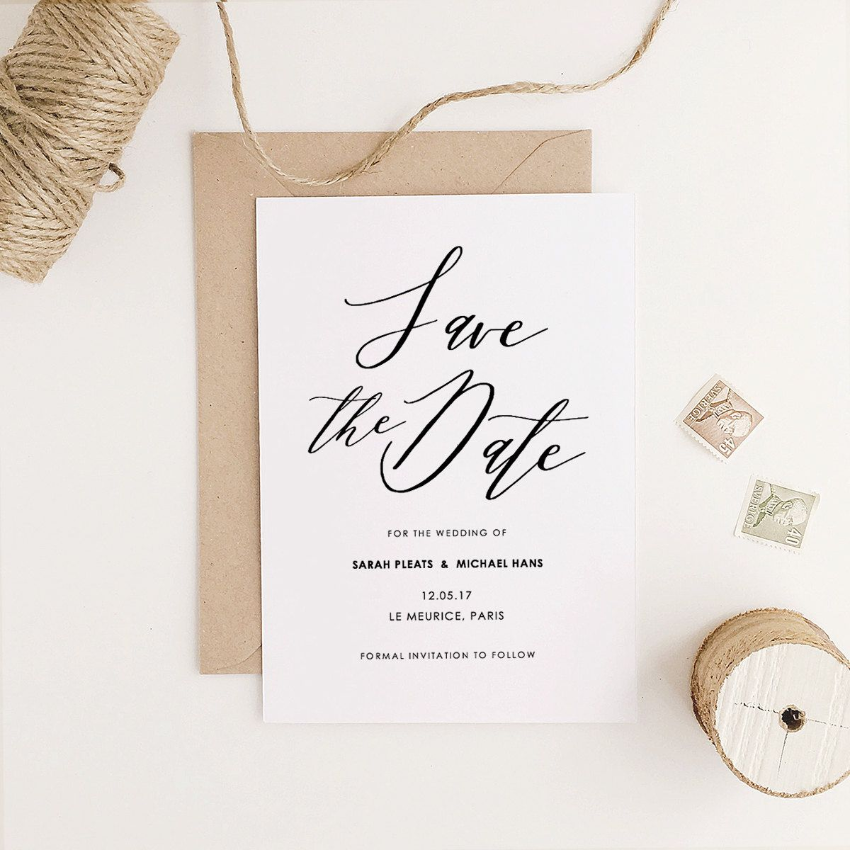 Save the Date Template, Printable Save the Date, Rustic