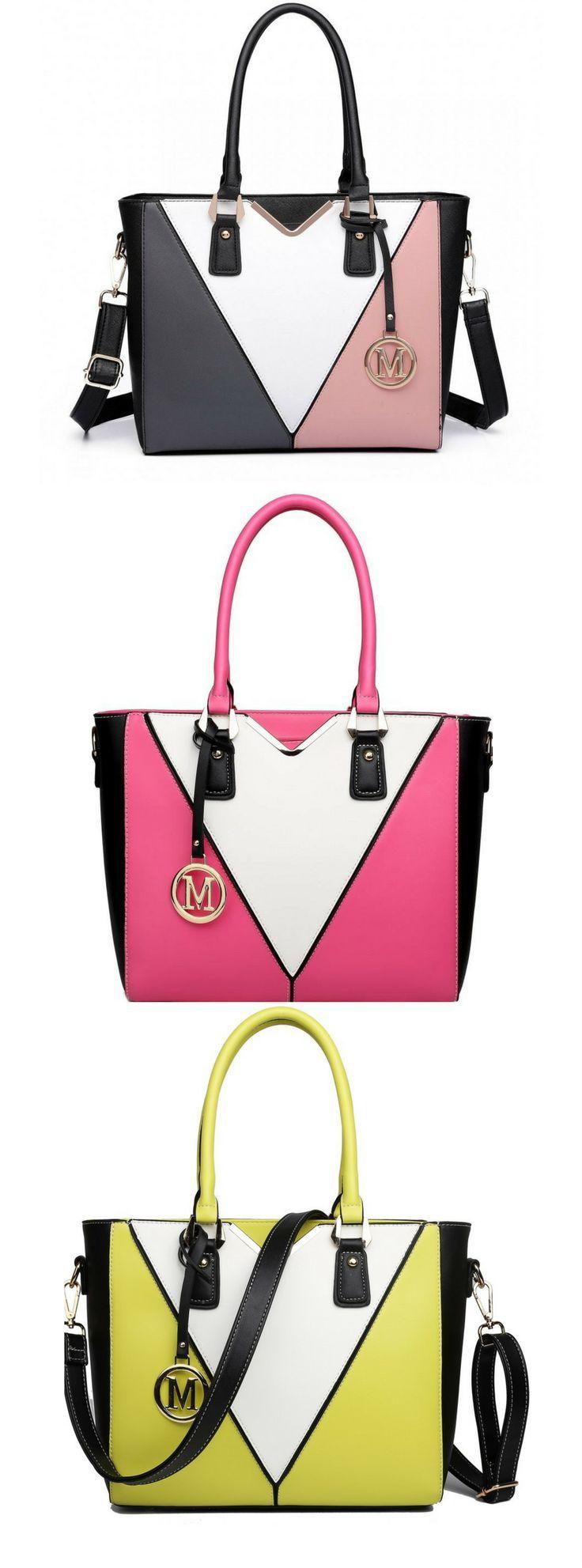 Miss Lulu Leather Look V-Shape Shoulder Handbag  ab6e4ac9bb801