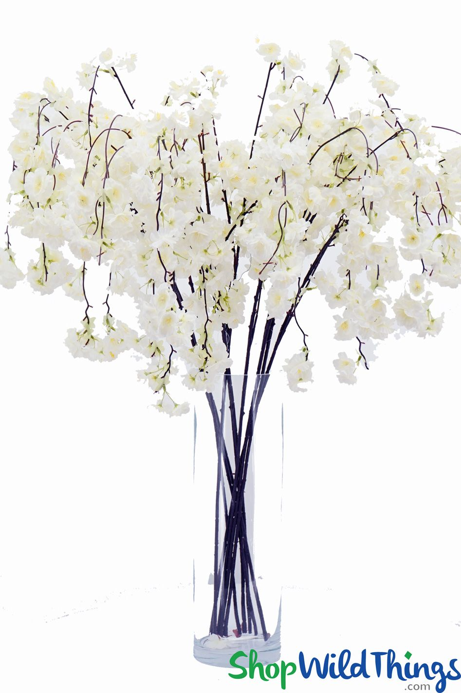 53 Long White Silk Cherry Blossom Branch Bendable Stems With Cascading Flowersideal For Black Ti Cherry Blossom Branch Silk Flowers Wedding Vase With Branches