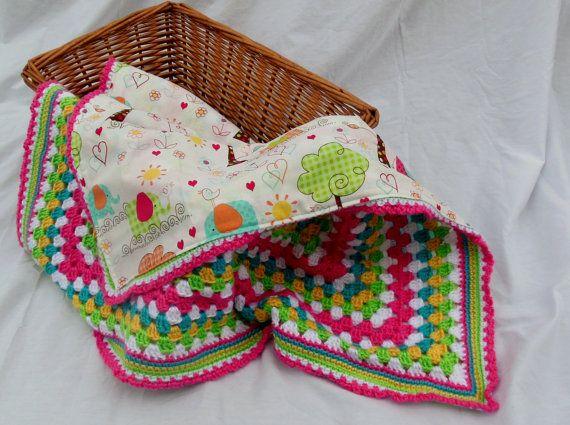 Crochet Baby Blanket, Baby Girl Elephant Parade Reversible Crochet ...