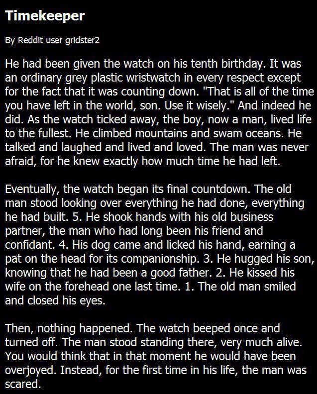 Timekeeper | Creepypastas | Scary creepy stories, Creepy stories