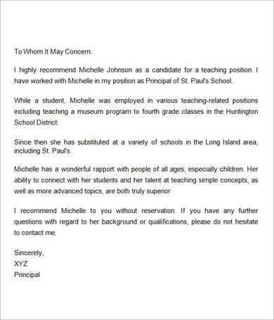 Sample Letter Of Recommendation For Teacher   18+ Documents In   To Whom It  May  To Whom It May Concern Letter
