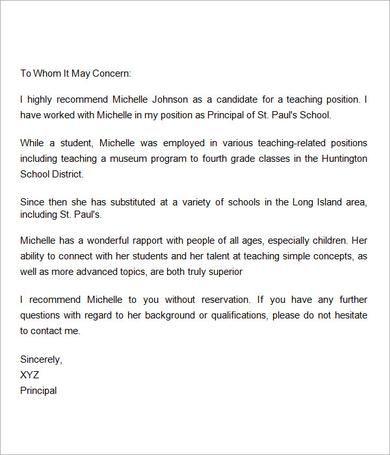 Sample Letter Of Recommendation For Teacher   Documents In