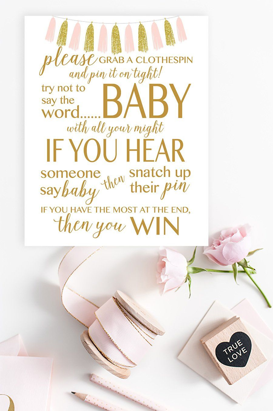 Don T Say Baby Sign Free Pink Gold Tassel Printable Baby Shower Signs Printable Baby Shower Clothes Pin Game Free Baby Shower Games