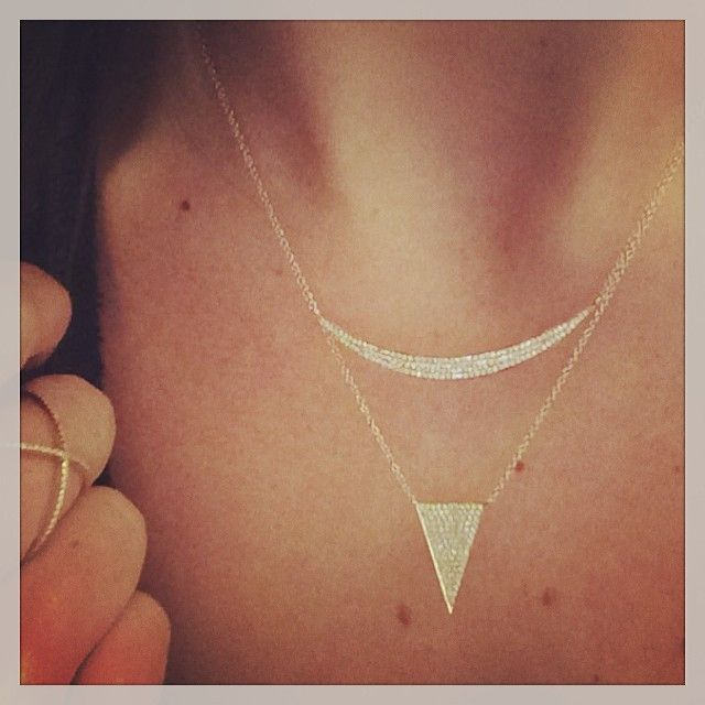6f952c929 EF Collection diamond jumbo crescent necklace layered with diamond jumbo  triangle necklace