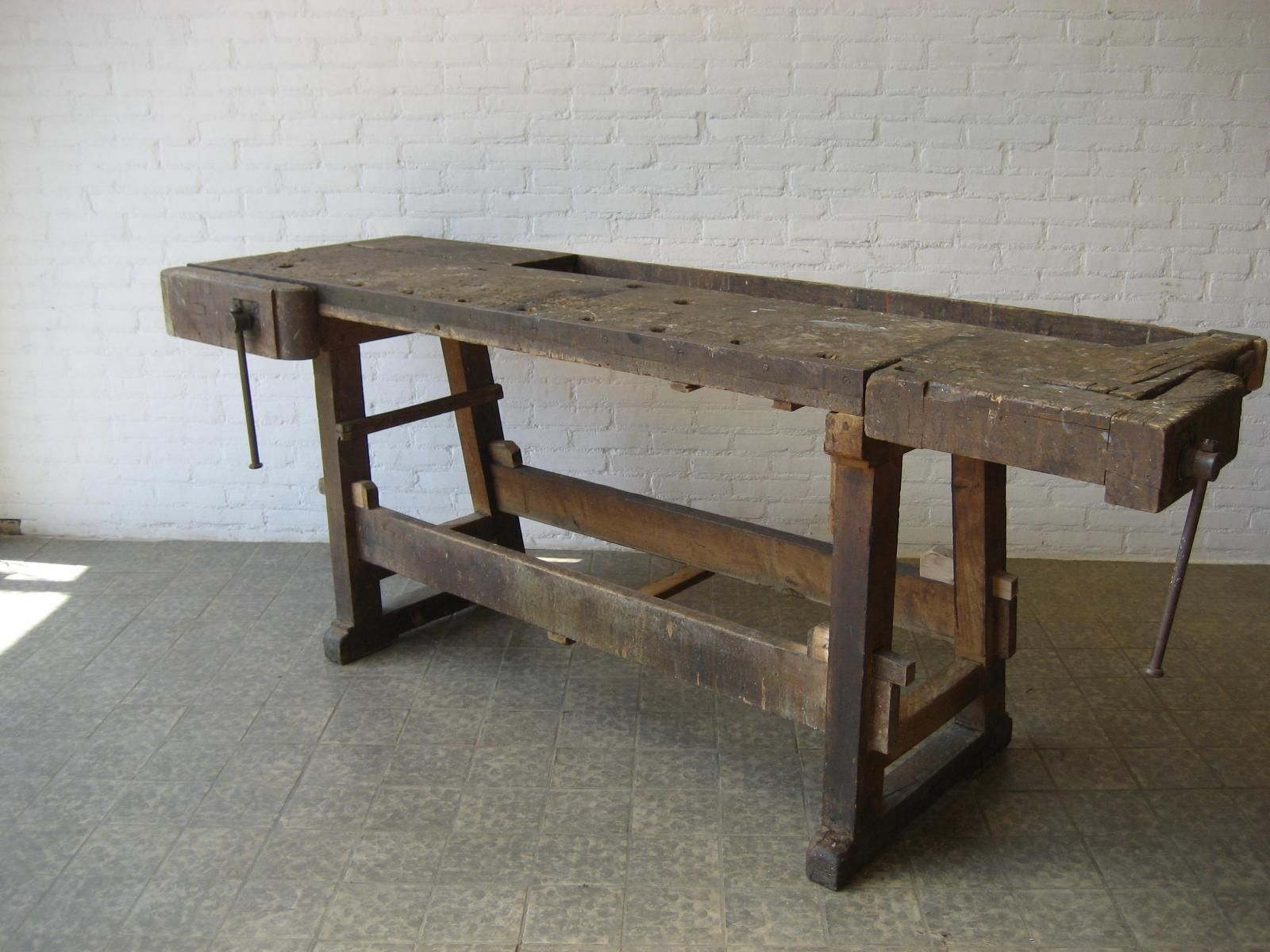industrial belgian oak workbench with two vices, 1950s for sale at