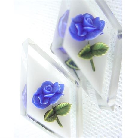 Pretty vintage earrings in clear Lucite, with back carved roses in a beautiful royal bluecoloron a white background. They have an elongated diamond shape, with screw backs. The earrings are in excellent shape, with a nice shiny surface and working backs.