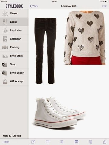 What to wear with a sweater with hearts: black jeans and white Converse