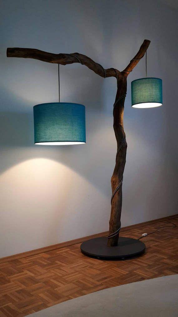 Stehlampe Astlampe mit zwei Textil Lampenschirmen in