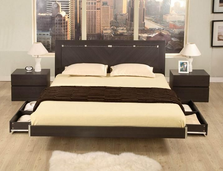 Modern Platform Bed With Storage Drawers And Ambient Lights