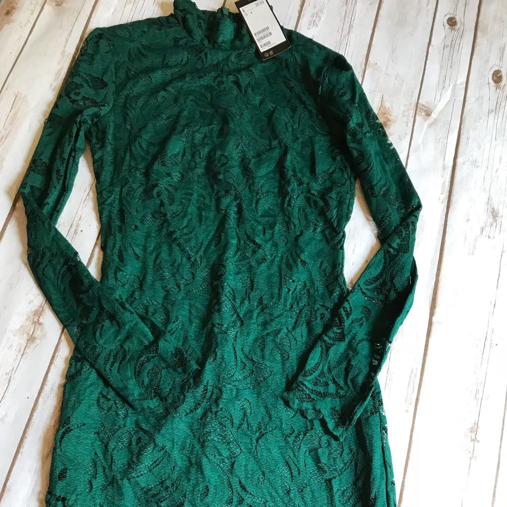 H&m green lace dress  HuM Green Lace Dress High Neck Nwt Size